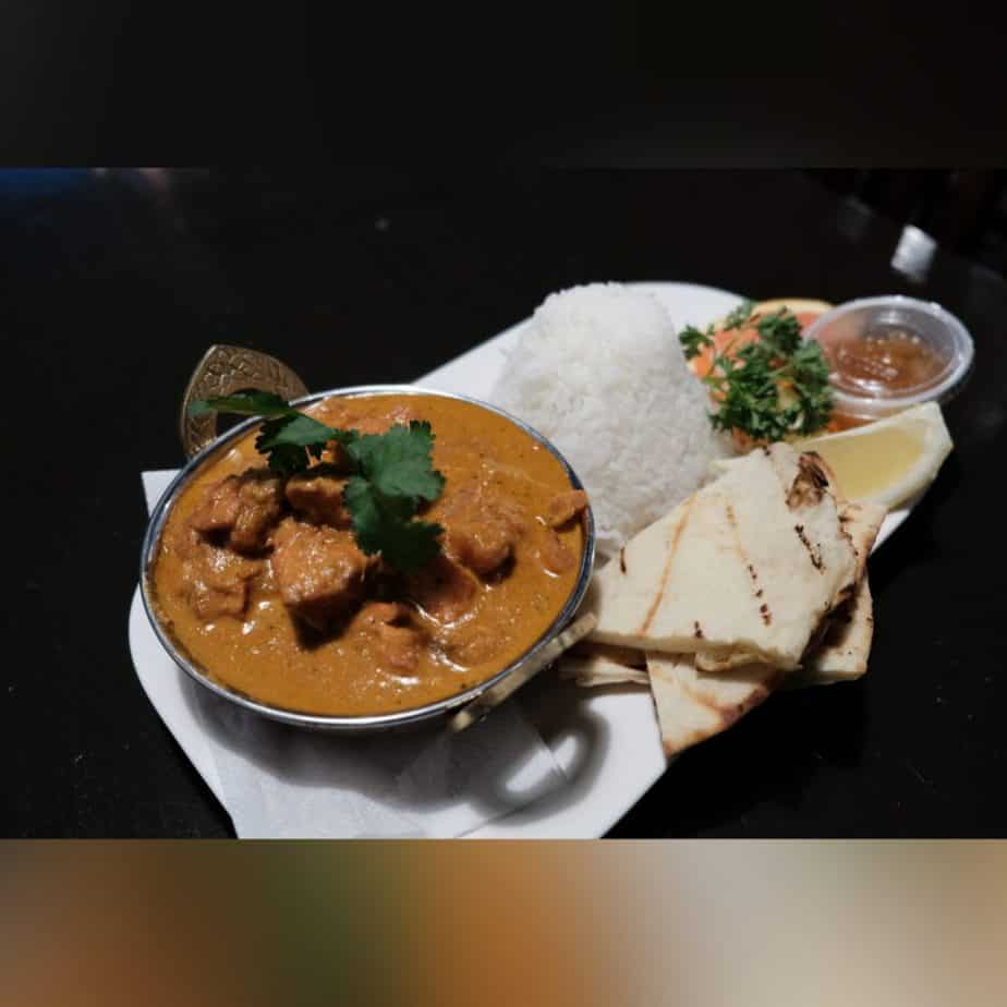 Butter Chicken with Naan and Rice